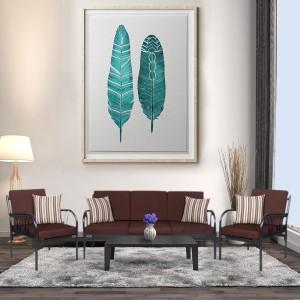FurnitureKraft Florence Fabric 3 + 1 + 1 Black Sofa Set