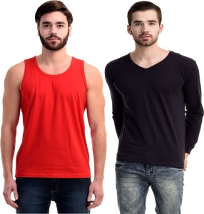 10d1e9e766d4 Mi Moda Solid Men Round Neck V neck Red Dark Blue T Shirt Pack of 2 ...