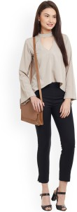 POISON IVY Casual Full Sleeve Solid Women's Beige Top