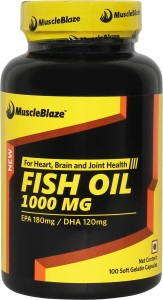 MuscleBlaze Omega 3 Fish Oil 1000 mg (180mg EPA and 120mg DHA)