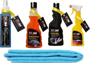DR3M small combo kit- car wash shampoo 250./ car wax polish 250ml./ leather dresser 250ml./1pc microfiber cloth / AIR CAR PERFUME Car Washing Liquid
