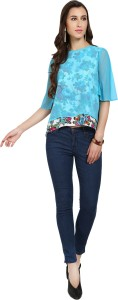 Naisha Casual Bell Sleeve Floral Print Women Blue Top