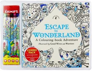 Luxor Escape to Wonderland Colouring Book & 10 Stripen Fine - 0.4MM Nib Sketch Pens  with Washable Ink
