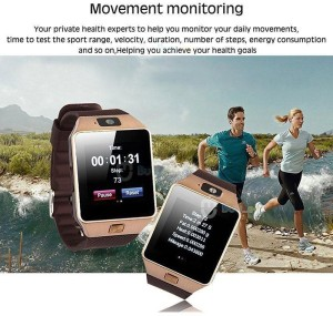 20cf9466d Bingo T30 Gold With SIM and 32 GB Memory Card Slot and Fitness Tracker  SmartwatchBlack Strap Regular
