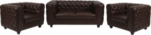 ARRA Leather 2 + 1 + 1 Brown Shaded Sofa Set
