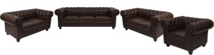 ARRA Leather Sectional Brown Shaded Sofa Set