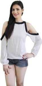 CrazeVilla Casual Full Sleeve Solid Women White Top