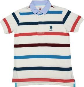 f6e320c19 U S Polo Kids Boys Striped Cotton T Shirt White Pack of 1 Best Price ...