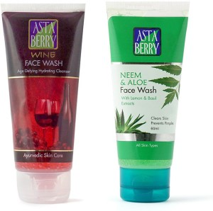 Astaberry 1 Neem Face Wash   1 Wine Face Wash Combo Set of 2