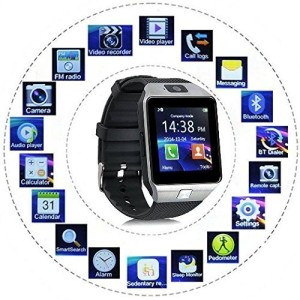02b6c85b6 Bingo T30 Silver With Sim And 32 GB Memory Card Slot And Fitness Tracker  Smartwatch Black Strap Regular Best Price in India