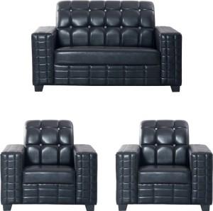 Bharat Lifestyle Black Diamond Leatherette 2 + 1 + 1 Black Sofa Set