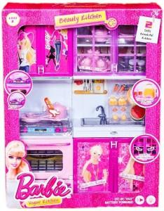 Presentsale 2 Fold Barbie Doll House Kitchen Set For Kids With Light