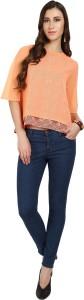 Naisha Casual Bell Sleeve Printed Women Orange Top