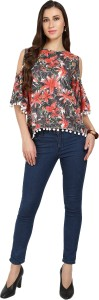 Naisha Casual Bell Sleeve Floral Print Women Black, Red Top