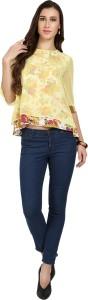 Naisha Casual Bell Sleeve Floral Print Women Yellow Top