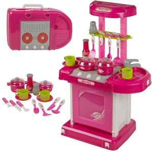Techhark Big Size Battery Operated Kitchen Set Carry Case Toy For