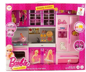 56b47086061 Techhark Lovely Barbie Battery Operated light music kitchen set for kids  Best Price in India