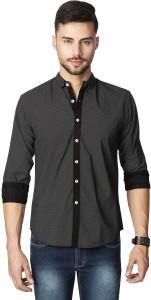 Rodid Men's Polka Print Casual Black Shirt