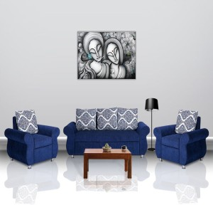 Bharat Lifestyle Alisa Fabric 3 + 1 + 1 Blue Sofa Set