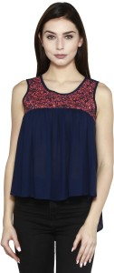 I AM FOR YOU Casual Sleeveless Printed Women Blue Top