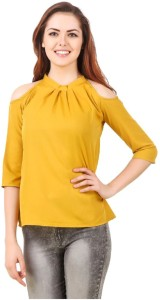 clothvilla Casual 3/4th Sleeve Solid Women's Yellow Top