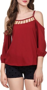 Pour Femme Casual 3/4th Sleeve Solid Women Maroon Top