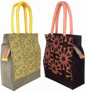 foonty jute bag pack of 2 multipurpose handbags Lunch Bag