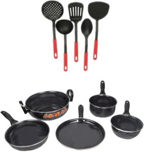 Blooming India Blooming India Cookware Set of 5 Non Stick Black With 5 Multi Colour Karchhi Cookware Set