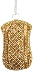 f4c2083d3d Bagaholics Ethnic Raw Silk Saree Clutch Waist Clip Ladies Purse Gift For Women  Mobile Pouch ( Gold )