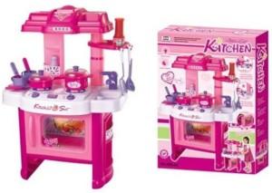 Dhawani Swastik Fashion Pink Plastic Kitchen Set For Kids Best Price