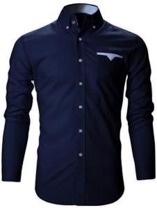 FINIVO FASHION Men's Solid Casual Dark Blue Shirt