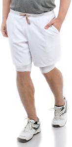 TRUEREVO Solid Men White Running Shorts