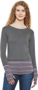 Hypernation Striped, Solid Women Round Neck Grey, Multicolor T-Shirt