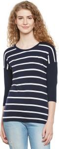 Hypernation Striped Women Round Neck Blue, White T-Shirt