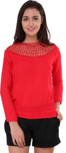 BuyNewTrend Casual 3/4th Sleeve Solid Women's Red Top