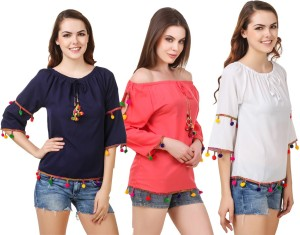 Delux Look Casual 3/4th Sleeve Printed Women White, Blue, Red Top