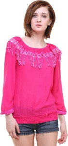 BuyNewTrend Casual 3/4th Sleeve Solid Women's Pink Top