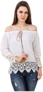 BuyNewTrend Casual 3/4th Sleeve Embroidered Women's White Top