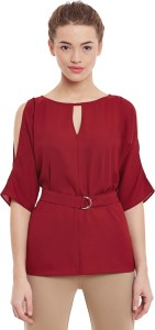 Miss Chase Party Half Sleeve Solid Women's Maroon Top