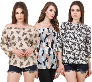 Delux Look Casual 3/4th Sleeve Printed Women White, Brown Top