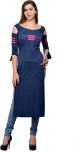 Tisoro Party 3/4th Sleeve Printed Women's Dark Blue Top