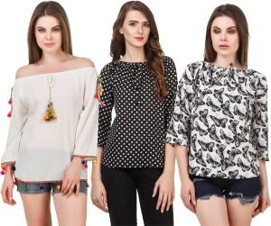 Delux Look Casual 3/4th Sleeve Printed Women Black, White Top