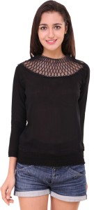 BuyNewTrend Casual 3/4th Sleeve Solid Women's Black Top