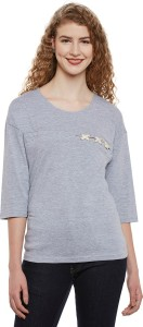 Miss Chase Casual 3/4th Sleeve Solid Women's Grey Top