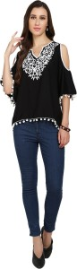 Naisha Casual Bell Sleeve Embroidered Women Black, White Top