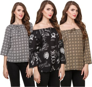 Delux Look Casual 3/4th Sleeve Printed Women Black, White, Brown Top