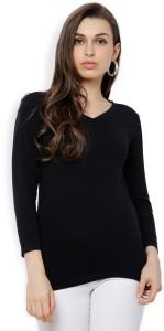 Tokyo Talkies Casual 3/4th Sleeve Solid Women Black Top