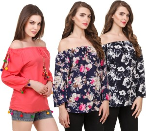 WISER Casual 3/4th Sleeve Embroidered Women Blue, Red Top