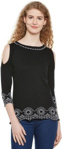 Hypernation Casual 3/4th Sleeve Embroidered Women's Black Top