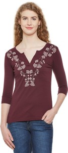 Hypernation Casual 3/4th Sleeve Embroidered Women's Maroon Top